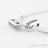 Authentic 925 Sterling Silver Double Diva with Clear Zirconia Clip charm Bead Fits European Pandora Jewelry Bracelets Necklace & Pendant