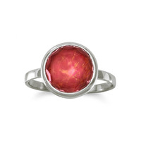 Large Round Freeform Faceted Quartz over Reconstituted Coral Stackable Ring