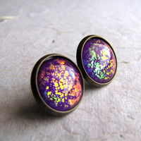 Rainbow Explosion 14mm Antiqued Brass Post Earrings