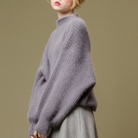 Fluffy Fuzzy Bat Pullover Sweater | Purple