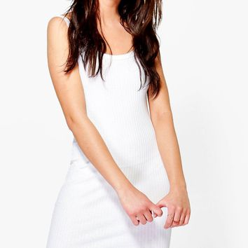 Grace Strappy Rib Knit Mini Dress | Boohoo
