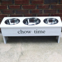 "French Country Personalized Raised Dog Bowl Stand Multi-  15"" Tall - Two 2 Quart and One 3 Quart  Bowl"