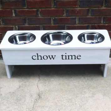 """French Country Personalized Raised Dog Bowl Stand Multi-  15"""" Tall - Two 2 Quart and One 3 Quart  Bowl"""