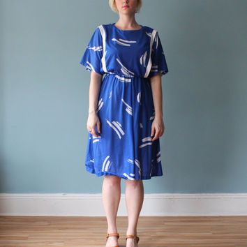 plus size dress / blue paint brush stroke dress by brownbagvintage
