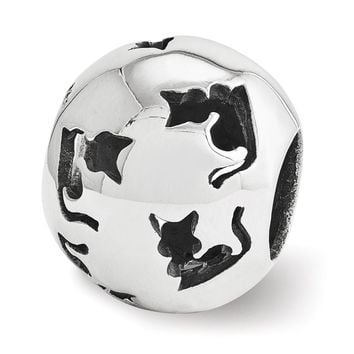 Sterling Silver Cutout Cat Silhouette Bead Charm