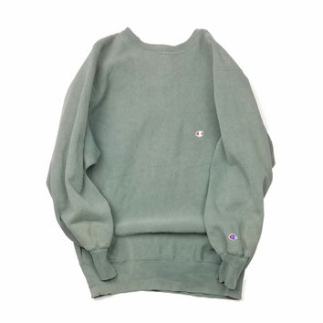 Champion Reverse Weave Army Pastel Green Sweater Size XL
