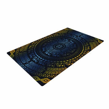 "Famenxt ""Night Queen Boho Mandala"" Multicolor Illustration Woven Area Rug"