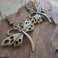 BRONZE DRAGONFLY beautiful vintage earrings by AsaiBolivien 7,90 US$