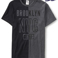 Aeropostale Mens Locker Stock Colorblock Brooklyn Graphic T-Shirt - Black,