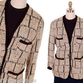 Ladies Blazer Chenille Black/Taupe Bestini Paris Large