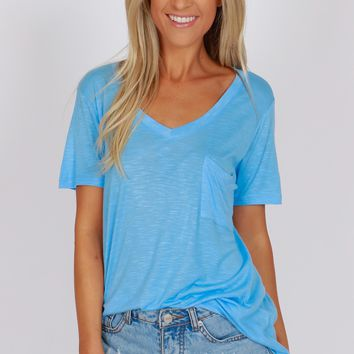 Pocketed Boyfriend Tee Boy Blue