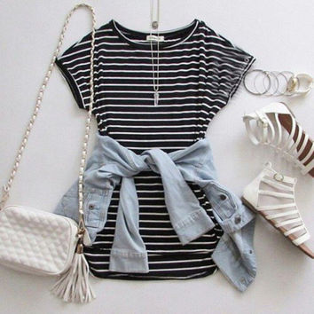 Cute round neck stripe short sleeve dress