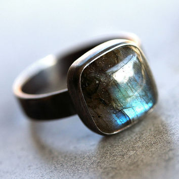 Labradorite Ring Blue Flash Labradorite Oxidized by TheSlyFox