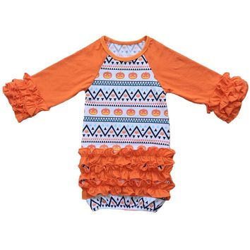 5624d6b23deac First Halloween pajama Gown,Baby Girl Coming home outfit,orange