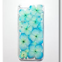 Handmade iPhone 5C case, Resin with Dried Flowers,  Sky color Hydrangea (1)