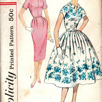 Simplicity 1950s Rockabilly Style Wiggle Swing Tea Dress Fit & Flared Full Circle Skirt Fitted Bodice Short Sleeve Bust 38