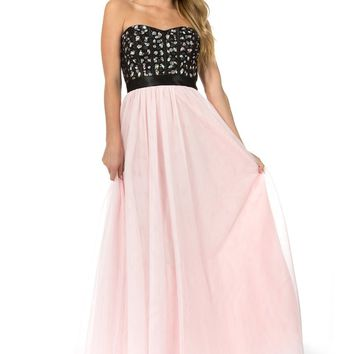 Teeze Me | Queen Colleen Strapless Corset Jewel Beaded Full Tulle Skirt Long Dress | Black/Blush