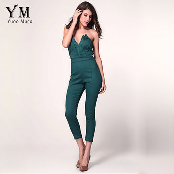 YuooMuoo S-XXL New Brand Designer Women Overalls Ladies Elegant Fitness Bodycon Jumpsuit Strapless V Neck Sexy Rompers for Women