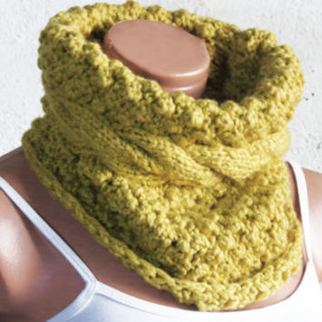 Chunky Cable Knit Cowl Scarf, Cozy Scarf Mustard, Cable Knit Neck Warmer, Citron Yellow SCARVES, Winter Accessory Woman, Teens, Gift for Her