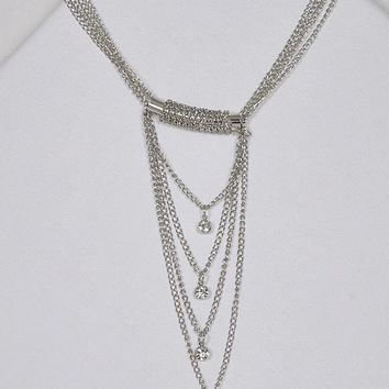 Multi-Strand Metallic Accent Crystal Studded Necklace