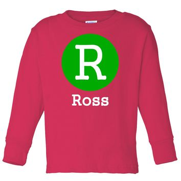 Personalized by Initial and Name on Long Sleeve Red T-Shirt