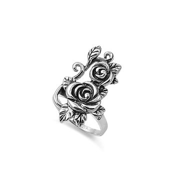 925 Sterling Silver Rose & Thorns 29MM Ring