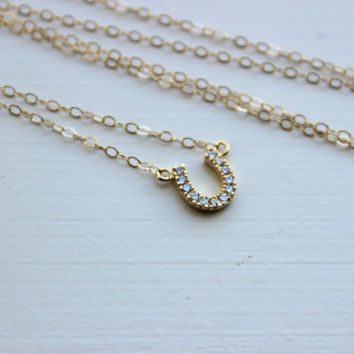 Gold Horseshoe Necklace - Gold Horse Shoe Jewelry - Horseshoe Charm - Simple Dainty Charm Necklace Jewelry - Gold Bridesmaid Gift under 25