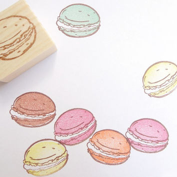 Macaron stamp, Sweets stamp, Cafe decoration, Pastel, Tea break, Cute stationery, Wedding decoration