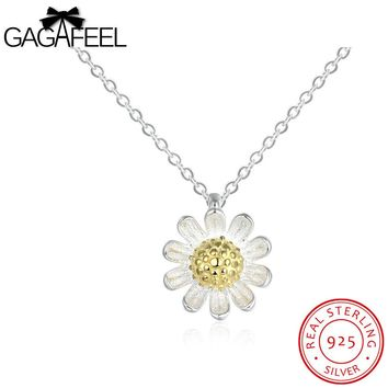 Daisy Pendant 925 Sterling Silver Lovely Rose Gold Flower Necklace Women