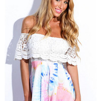 White and Pink Scalloped Floral Lace Off Shoulder Pleated Romper