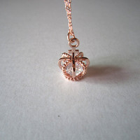 rose gold necklacecrown necklacecrown with rhinestone by Viviens