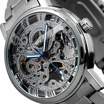 Fashion Brand Luxury Men Automatic Mechanical Watch Skeleton Dial Military Watch Relogio Male Montre Watch Mens Relojes