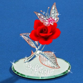"Glass Baron ""I Love You"" Butterfly and Rose Figurine"