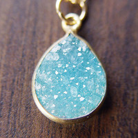 Teal Druzy Gold Necklace by friedasophie on Etsy