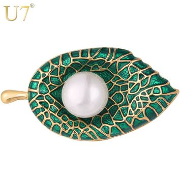 U7 Waterdrop on Leaf Brooches Men/Women Costume Jewelry Party Bridesmaid Groomsman Gift Green Brooch Lapel Pin 2017 New B12