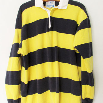 Vintage 1990s Lands' End Rugby Stripe Polo Shirt