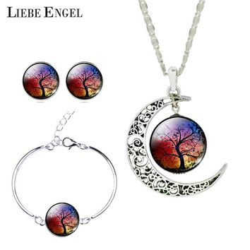 LIEBE ENGEL Newest Silver Color Jewelry Moon Pendant Necklace Stud Earrings Charm Bracelet Set Jewelry Sets  Christmas Gift