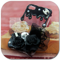 Apple iPod Touch iTouch 4G 4th Generation 4 G Gen Kitsch Hard Skin Case: Rose Diy Deco Melt Black Fudge Hand made Back Case Cover (BBR)