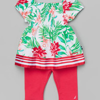 Green Floral Peasant Top & Fuchsia Leggings - Infant | zulily