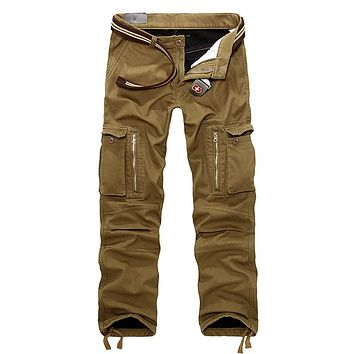 Helisopus Men Cargo Pants With Big Pocket Winter Thick Warm Pants Full Length Military Overall Mens Long Trousers Workwear Pants