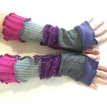 Upcycled Fingerless Gloves  Purple Grey Pink Armwarmers Recycled Wrist warmers Stripe Gloves Knit Gloves Fingerless Mittens Arm Warmers