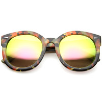 Vibrant Marble Print Mirrored Lens Round Sunglasses A093