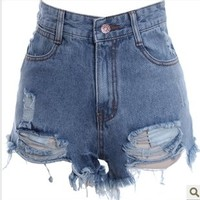 tourtown — Hole burrs washed do old high-waisted denim shorts