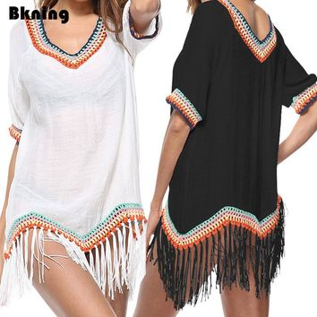 Bkning Chiffon Tassels Tunic Beach Cover Ups Bathing Suit Swim Wear White Dress Women Maios Pareo Beachwear Dresses Kaftan Black