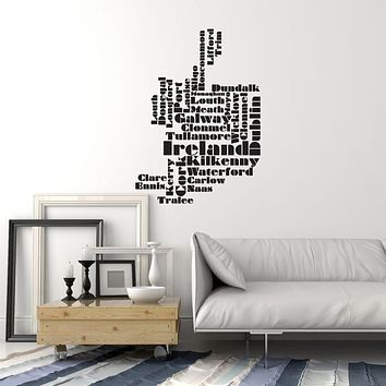 Vinyl Wall Decal Ireland Map Cities Irish Room Decoration Interior Stickers Mural (ig5972)