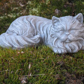 Long Haired Cat Figure - Cat Memorial Marker - Painted Cat
