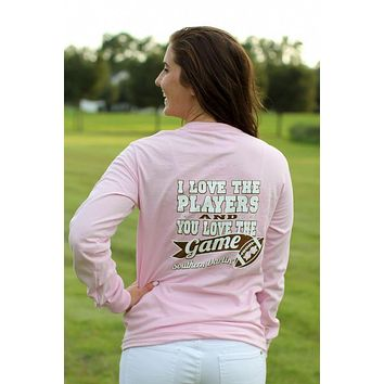 Southern Darlin I Love the Players & You Love the Game Football Bow Longsleeve Bright Girlie T-Shirt