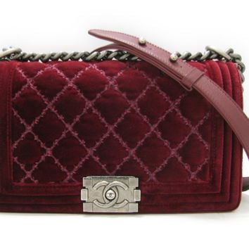 CHANEL Boy Chanel Chain Shoulder Bag Quilted Velvet Red