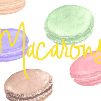 Macarons Watercolor Clip Arts for Scrapbooking Digital Files Bridal Shower Invitation