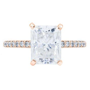Radiant Crushed Ice Moissanite 4 Prongs Diamond Accent Ice Cathedral Solitaire Ring